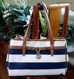"Tommy Hilfiger Rugby Nautical Multi Blue Navy White Stripe 13"" Tote Handbag"