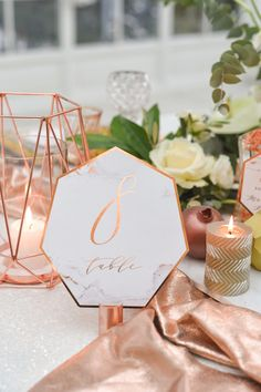 Table Number -copper and marble See more here: http://4lovepolkadots.com/p/147/440/9927/TABLE%20NUMBERS_glitter_01-geoc-tn.html