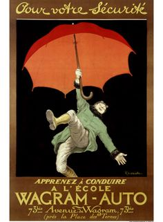 "Vintage Wagram-Auto Advertisement. This is a vintage advertisement art poster print featuring an advertising for ""Wagram-Auto"" driving school by artist Leonetto Cappiello, learning to drive acts as a safety umbrella."