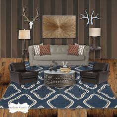 cozy inviting masculine living room kwalkerinteriorscom - Manly Room Decor