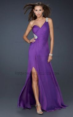 Purple One Strap a Beaded Hip Long Dresses for Sale http://www.hotpromdresses2013.com
