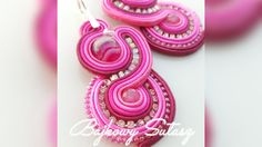 """Earrings """"Pink Lady"""" by Soutachewithpassion on Etsy Pink Lady, Soutache Jewelry, Washer Necklace, Crochet Earrings, Trending Outfits, Jewellery, Unique Jewelry, Handmade Gifts, Etsy"""