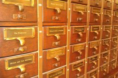 Repurposed: Card Catalog turned donor wall  Los Angeles Public Library