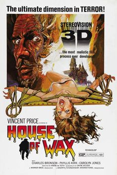 Directed by André De Toth.  With Vincent Price, Frank Lovejoy, Phyllis Kirk, Carolyn Jones. An associate burns down a wax museum with the owner inside, but he survives only to become vengeful and murderous.