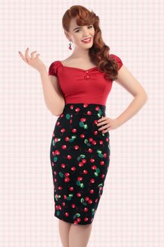 Collectif Clothing ~ 50s Fiona Cherry Pencil Skirt in Black