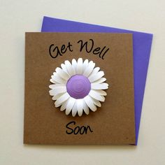 GET WELL SOON Card - Quilled Daisy Get Well Card My Best Friend's Birthday, Feeling Under The Weather, Get Well Wishes, Get Well Soon, Unique Cards, Get Well Cards, Beautiful Artwork, Card Sizes, Paper Goods