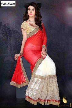 Red Color wedding bridal lehenga style sarees @ http://utsavsaree.in/beautiful-sarees-online-500-1000-rupees/