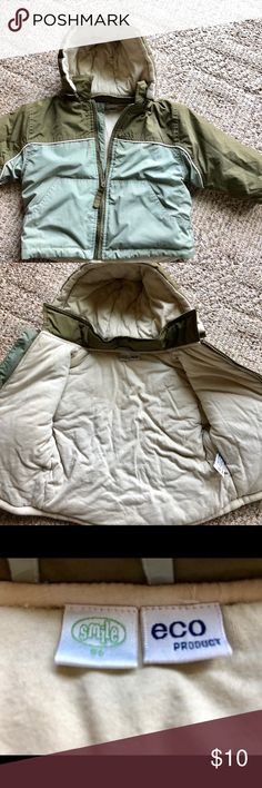 Great coat by Smile an Eco product This is an  organic and eco friendly baby jacket in size 86, which is in US size 18 months. To me it looks more like an 2/3 size. Is in great condition! Soft 100% cotton lining . Has hoody that can be removed with zipper. Velcro on sleeves. Can be worn by boy or girl. Smile Jackets & Coats #babygirlcoats