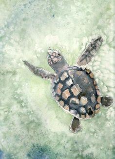 Loggerhead sea turtle watercolor print, beach art, animal art, Aquamarine Dream, seafoam aqua green ocean, already matted