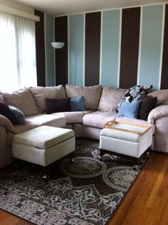 Brown And Blue Living Room Accomplished H0me Dec0r