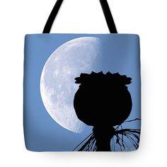 #Poppy Valentine  #silhouette  TOTE BAG Love Under #Moonlight via #OrganicalBotanicals   #valentinesday  #giftidea #poppy  #Prints on #Apparel Home #Decor Wall #Art #fineartamerica