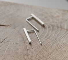 Delicate bar earrings silver bar thread minimalist by AgJc on Etsy