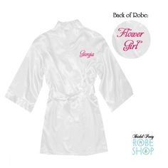 Items similar to Flower Girl Satin Robe with Name Embroidered on Front and Title on Back, Junior Bridesmaid Robe, Toddler Satin Robe, flower girl gift idea on Etsy Flower Girl Robes, Flower Girl Gifts, Flower Girls, Bridesmaid Robes, Junior Bridesmaids, Best Q, Kids Robes, Bridal Party Robes, Your Style
