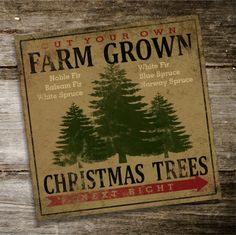 Farm Grown CHRISTMAS TREES Original Alpine Graphics Illustration on wood - made to order - choose a size