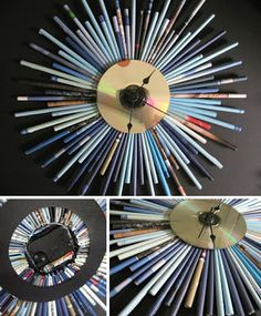 recycle CD and wooden chopstick clock