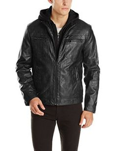 Kenneth Cole REACTION Men's Marble Faux-Leather Moto Jacket with Hood at Amazon Men's Clothing store: