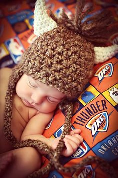 Newborn Baby Photo Prop Thunder Basketball Rumble Bison Hat on Etsy, $30.00