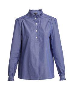 Saint Germain ruffle-detailed striped cotton shirt | A.P.C. | MATCHESFASHION.COM US