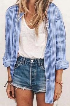 2020 Women Jeans Red Cargo Pants Revtown Jeans Ripped Jeans For Girls - Summer Outfits Cute Summer Outfits, Spring Outfits, Cute Summer Shirts, Casual Summer, Spring Summer Fashion, Looks Con Shorts, Girls Ripped Jeans, Ripped Women, Inspiration Mode