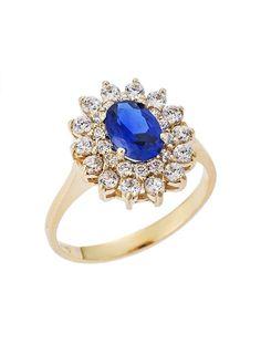 Δαχτυλίδι Ροζέτα Χρυσό 9Κ με Ζιργκόν Αναφορά 022079 Ένα πανέμορφο δαχτυλίδι (ροζέτα) που μπορείτε να χαρίσετε σε μια γυναίκα για αρραβώνα ή για γάμο το οποίο είναι κατασκευασμένο από Χρυσό 9K σε κίτρινο χρώμα.Οι πέτρες που το διακοσμούν είναι ημιπολύτιμες (ζιργκόν) σε λευκό και μπλε χρώμα. Sapphire, Rings, Jewelry, Fashion, Moda, Jewlery, Jewerly, Fashion Styles, Ring