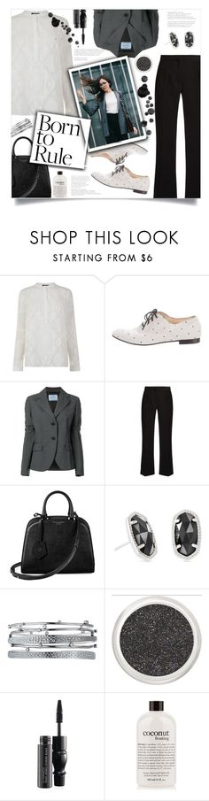 """How to wear Flared Trouser!"" by disco-mermaid ❤ liked on Polyvore featuring French Connection, Tod's, Prada, Altuzarra, Aspinal of London, Kendra Scott, MAC Cosmetics, philosophy and modern"