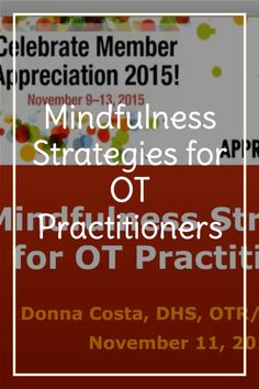 Mindfulness is an important tool for managing stress and anxiety. How can you incorporate it into your practice and apply it in your daily life? watch this video for more! What Is Occupational Therapy, Stress Management, Stress And Anxiety, Helping People, Mindfulness, How To Apply, Watch, Learning, Life