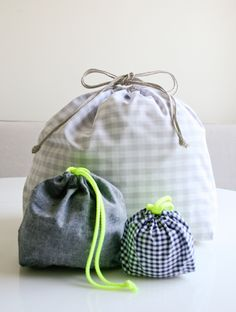 Easy Drawstring Bag - The Purl Bee - Knitting Crochet Sewing Embroidery Crafts Patterns and Ideas!