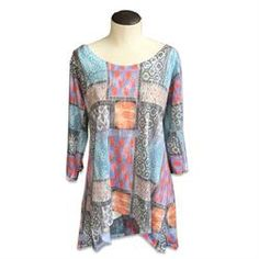 Maria Luisa Boutique | ML by Maria Luisa - Nally & Millie Printed Patch Scarf Tunic, patch print tunic, B-N241344J, N241344J, top, blouse, women's, ladies