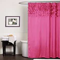 Ry bathroom- @Overstock - Protect your privacy in style with this pretty pink shower curtain. Featuring a 100 percent polyester construction, it offers style and durability. The shocking pink color palette and 3D design is sure to add character to your bathroom. http://www.overstock.com/Bedding-Bath/Lush-Decor-Lillian-Pink-Shower-Curtain/6820859/product.html?CID=214117 $39.99