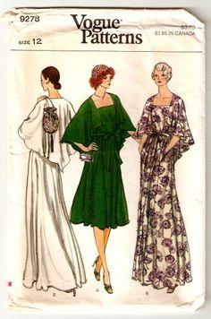 Vogue 9278 Vintage Womens Cape Dress Pattern by Fragolina-my prom dress Evening Dress Patterns, Vintage Dress Patterns, Vintage Dresses, Evening Dresses, 1970s Dresses, Vintage Clothing, Vogue Sewing Patterns, Clothing Patterns, Vintage Vogue