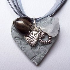 Silver Grey Embellished Heart Pendant SALE by BeadsFromTheArt, £8.99