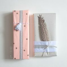 chic gift wrap with feathers and string