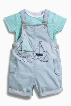 Buy Blue Light Wash Boat Dungarees (0mths-2yrs) online today at Next: United States of America