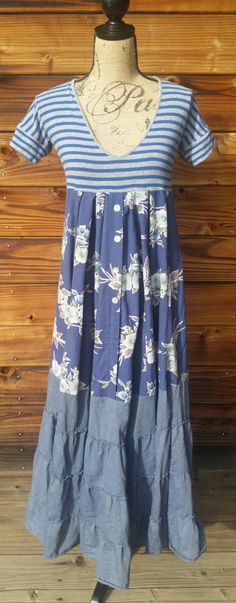 Upcycled recycled repurposed eco-friendly empire waist maxi