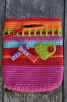Pink and Red Small Lined Crocheted Heart Tote