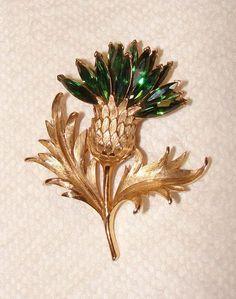 CROWN TRIFARI Gold Tone Green Glass Marquise Stone Thistle Flower Pin Brooch #Trifari
