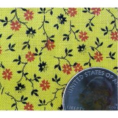 Rare Vintage Textile 19th Century Yellow Cotton Calico 24 inches Wide