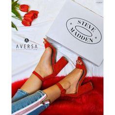 Sandalo con tacco Steve Madden Friday camoscio rosso