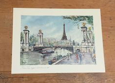 Paris Eiffel Tower by Pedro Vargas ~ Colored Lithograph ~ Linocut Print by FeeneyFinds on Etsy