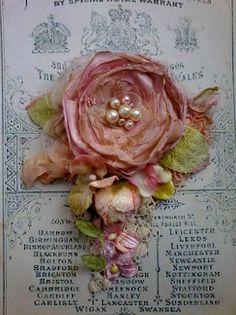 large tattered shabby rose brooch whimsical hair flower
