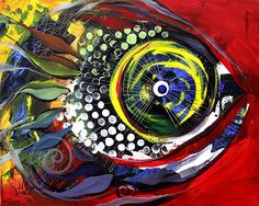 """Rainbow in the Red Sea"" (2014) Abstract Fish Painting from J. Vincent Scarpace, Artist"