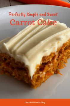 This carrot cake is moist and sweet and the cream cheese frosting is delicious! … This carrot cake is moist and sweet and the cream cheese frosting is delicious! Simple to make and yummy to eat! The perfect treat for the Easter Bunny! Carrot Cake Bars, Homemade Carrot Cake, Moist Carrot Cakes, Homemade Cake Recipes, Baking Recipes, Dessert Recipes, Carrot Cake Recipes, Simple Carrot Cake Recipe, Carrot Sheet Cake Recipe
