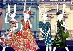 Rabbit ladies fashion ilustration