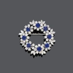 SAPPHIRE AND DIAMOND BROOCH,  ca. 1950. #DiamondBrooches