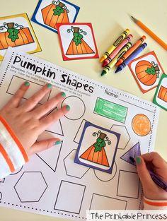 Pumpkin Shape center... color the shape on the paper to match the pumpkin shape.