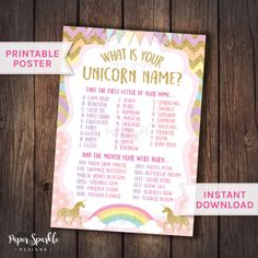Unicorn Party Unicorn game Unicorn Birthday by PaperSparkleDesigns