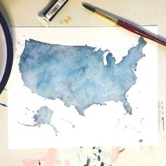 United States Watercolor Art blue country by ArtbyShannonBezold