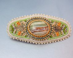 Bead Embroidery Barrette Seed bead jewelryFloral by Vicus