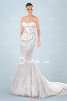 $248   Stunning Sweetheart Neckline Sheath Wedding Gown with Exquisite Beaded Applique and Floral Embellishment