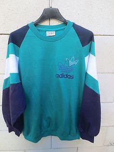 VINTAGE-Sweat-ADIDAS-TREFOIL-annees-80-vert-oldschool-Ventex-sport-loisirs-174-M